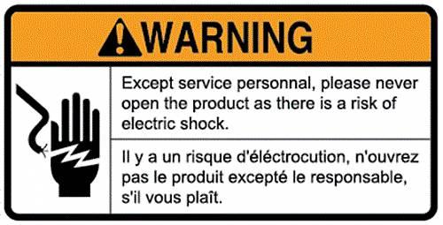 WARNING STICKER_POWER BOX ETL / PART SUB NAME / PART CODE