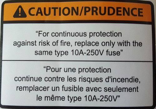 FUSE LABEL(10A-250V) ETL / PART SUB NAME / PART CODE